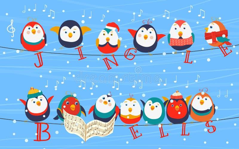 Птицы рождества на поздравительной открытке проводов Птицы рождества держа слова колоколов звона счастливое Новый Год бесплатная иллюстрация