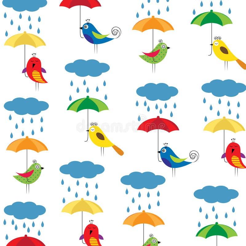 Птицы с зонтиками иллюстрация вектора