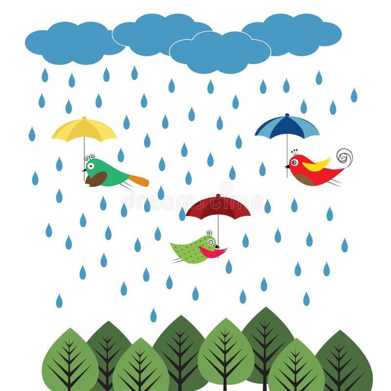 Птицы с зонтиками бесплатная иллюстрация