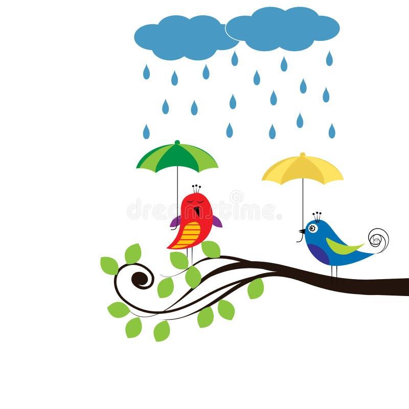 Птицы с зонтиками иллюстрация штока