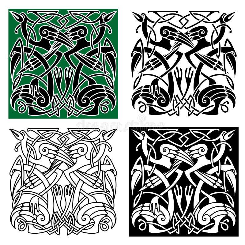 Птицы цапли с кельтским орнаментом иллюстрация вектора