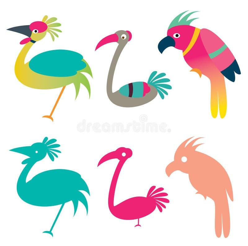 птицы цветастые иллюстрация штока