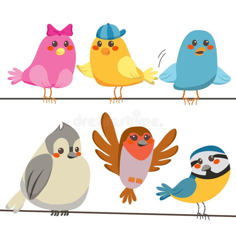 птицы цветастые иллюстрация вектора