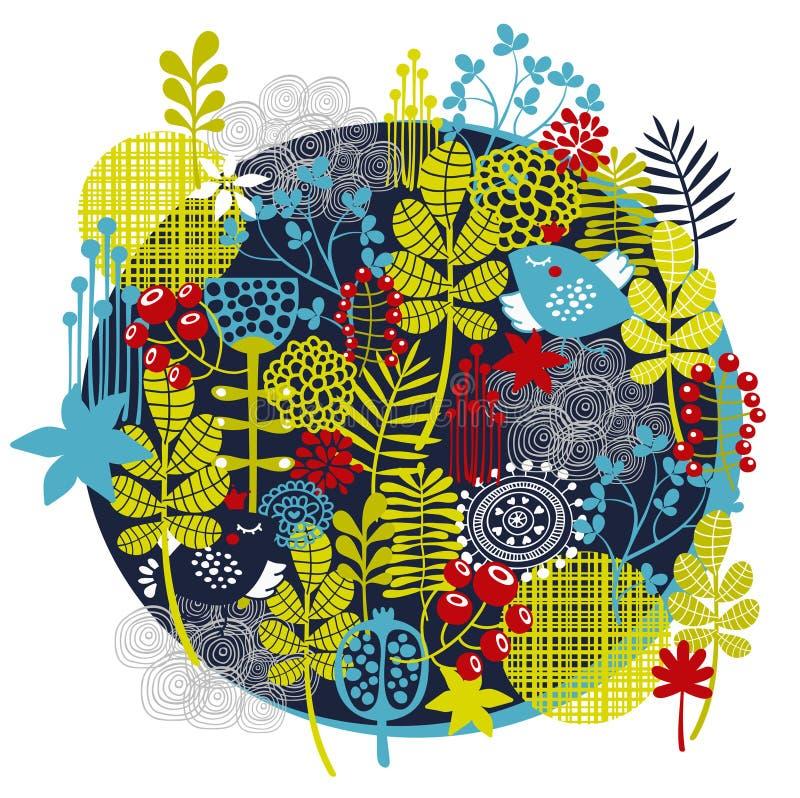 Download Птицы, цветки и другая природа. Иллюстрация вектора - иллюстрации насчитывающей темно, трава: 33730333