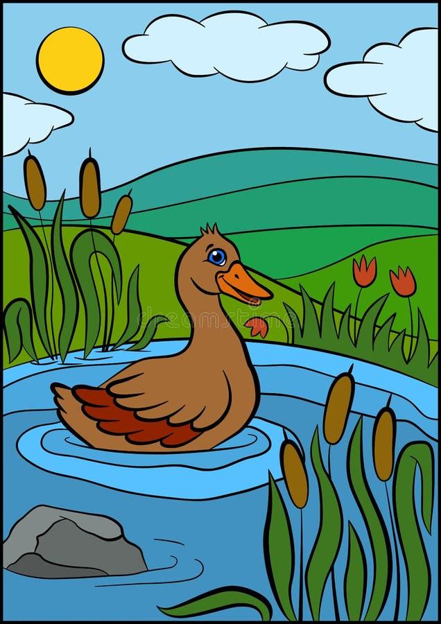 Рисунок утка с утятами идут к озеру