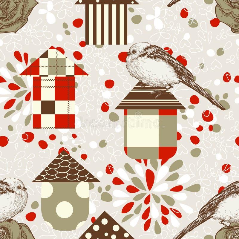 птицы birdcages иллюстрация вектора