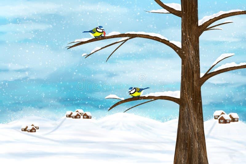 Птицы Chickadee в зиме иллюстрация штока