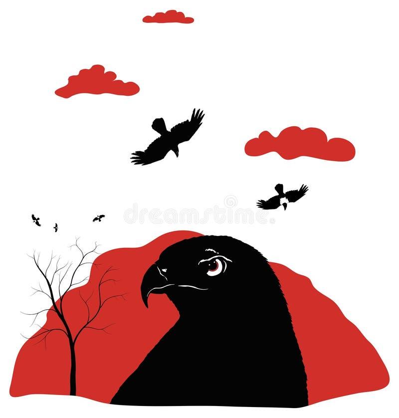 Птицы prey на красном цвете бесплатная иллюстрация