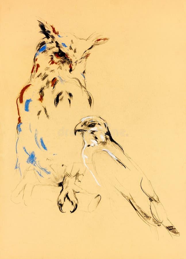 Птицы prey иллюстрация вектора