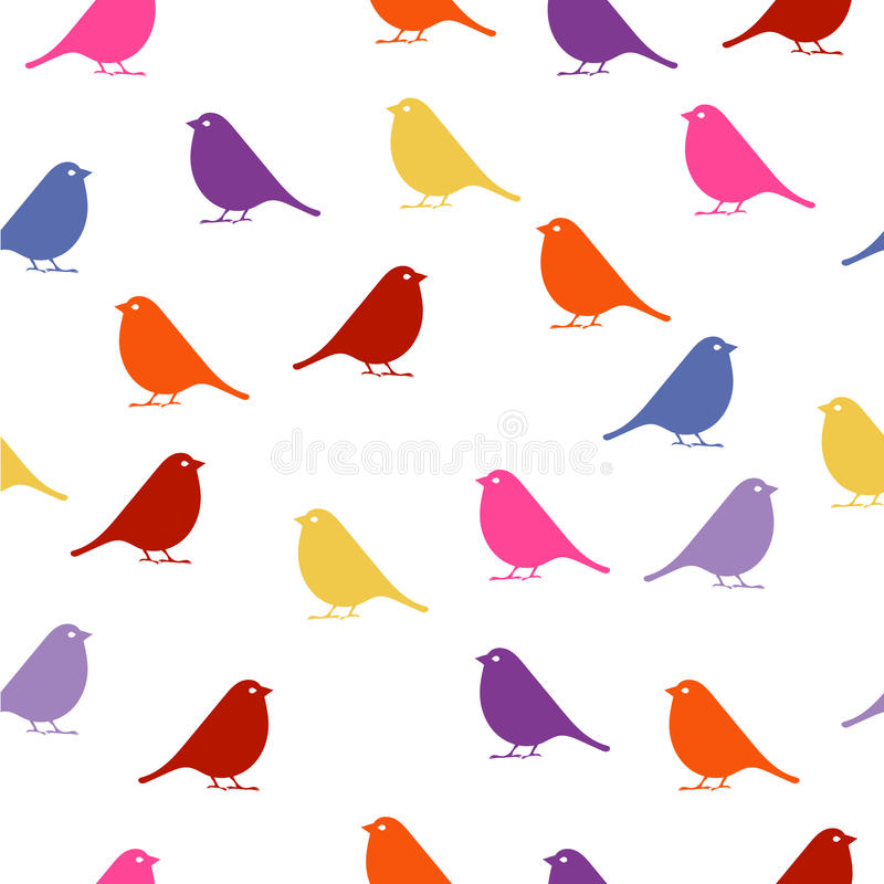 птиц безшовная предпосылка младенца с птицами цвета стоковая фотография