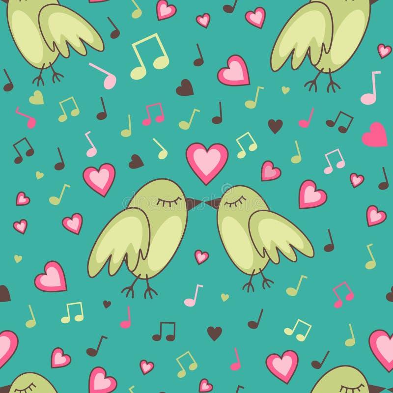 Птиц-в-влюбленност-картина иллюстрация штока