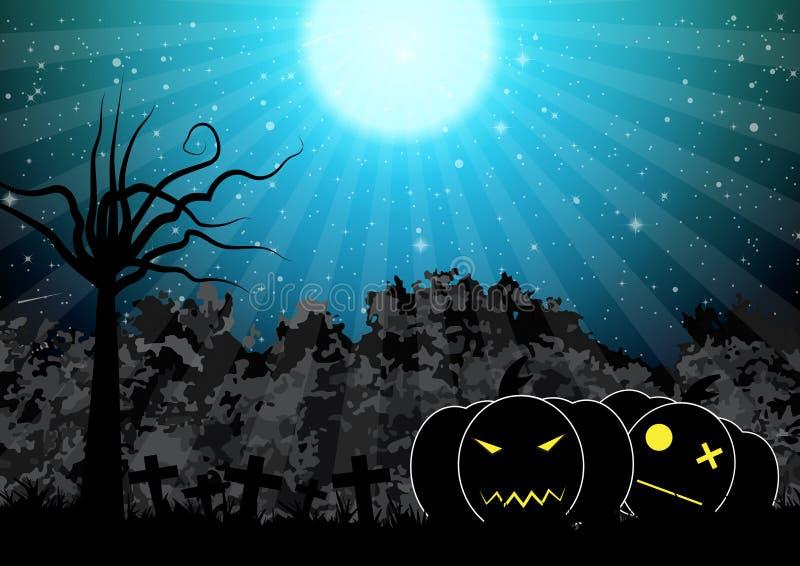 Пугающая иллюстрация вектора предпосылки хеллоуина тыквы бесплатная иллюстрация