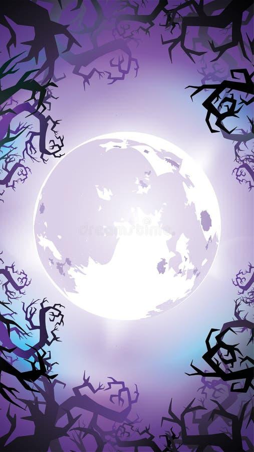 Пугающая предпосылка ночи с полнолунием, страшными деревьями и силуэтами леса Знамя хеллоуина с космосом экземпляра для приветств иллюстрация вектора