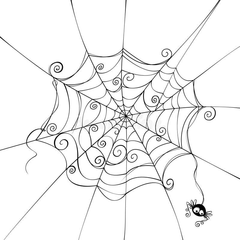 Пугающая сеть паука иллюстрация штока