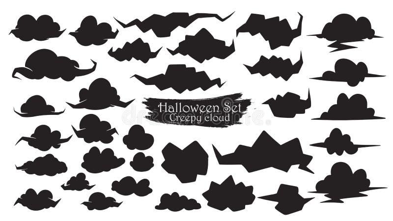 Пугающее изолированное собрание силуэта облака вектора хеллоуина бесплатная иллюстрация