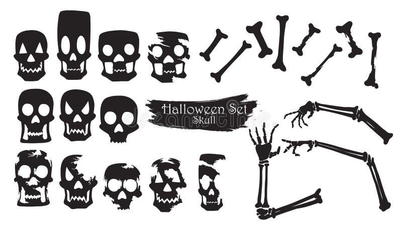 Пугающее изолированное собрание силуэта черепа вектора хеллоуина иллюстрация вектора