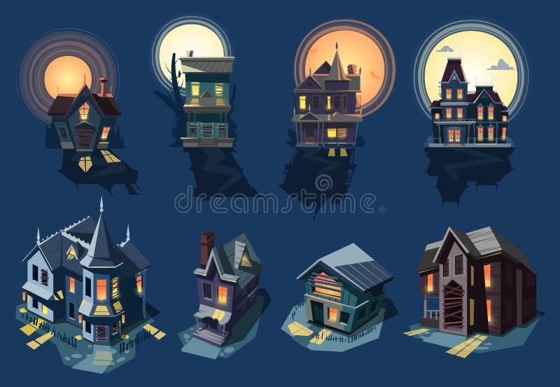 Пугающий вектор дома преследовал замок с темным страшным кошмаром ужаса на иллюстрации тайны лунного света хеллоуина еженощно иллюстрация штока