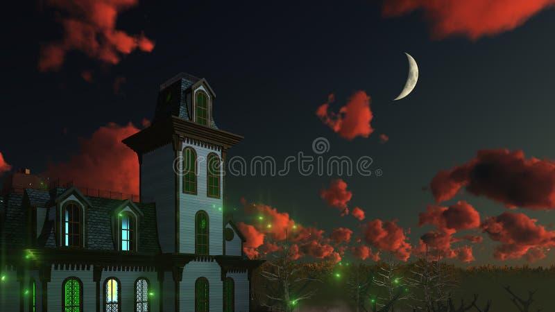 Пугающий мистический особняк под ночным небом иллюстрация штока