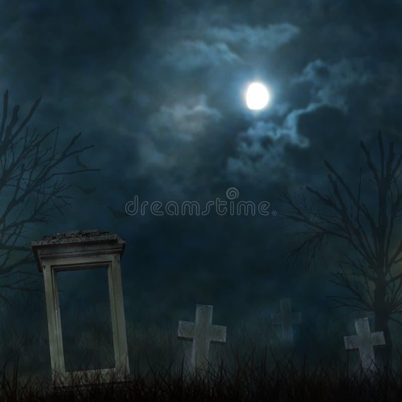 Download Пугающий погост хеллоуина с темными облаками Иллюстрация штока - иллюстрации насчитывающей темно, крест: 33738982