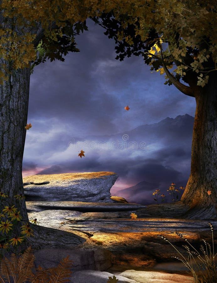 Пугающий туманный ветер леса осени бесплатная иллюстрация