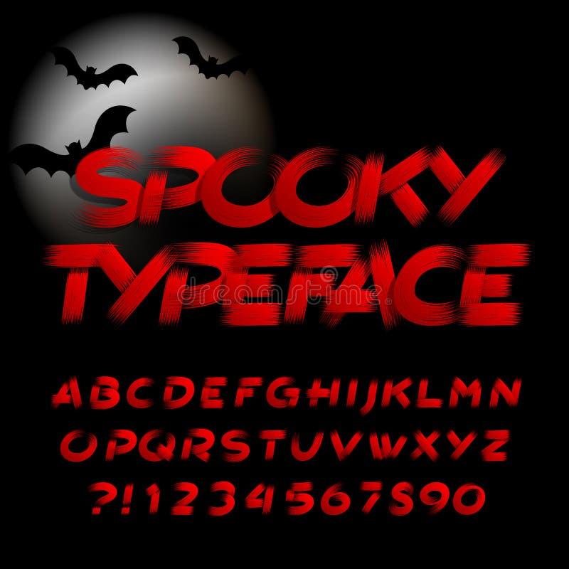 Пугающий шрифт алфавита Письма, номера и символы Brushstroke иллюстрация штока