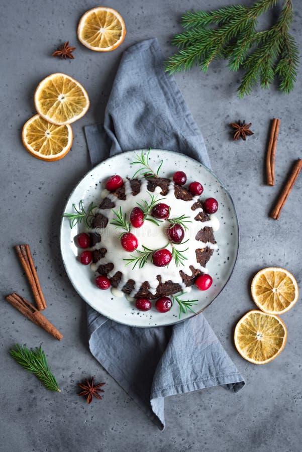 Пудинг рождества, торт плода стоковое изображение