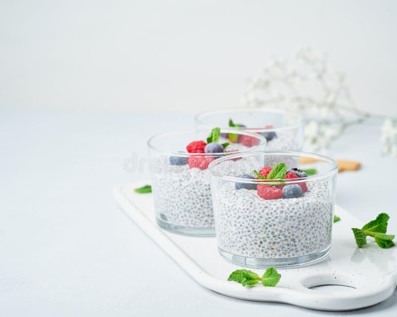 Пудинг Chia с космосом экземпляра, свежими полениками ягод, голубиками 3 стеклянное, светлая предпосылка, взгляд со стороны, цвет стоковые фотографии rf