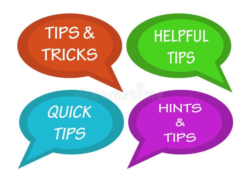 Пузыри бесед с надписью наклоняют и фокусы, полезные подсказки, быстрые подсказки, намеки и подсказки бесплатная иллюстрация