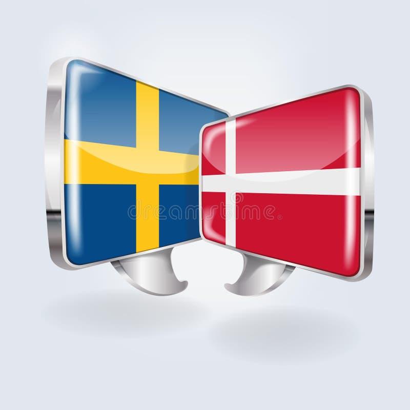 Пузыри в шведском и датском иллюстрация вектора