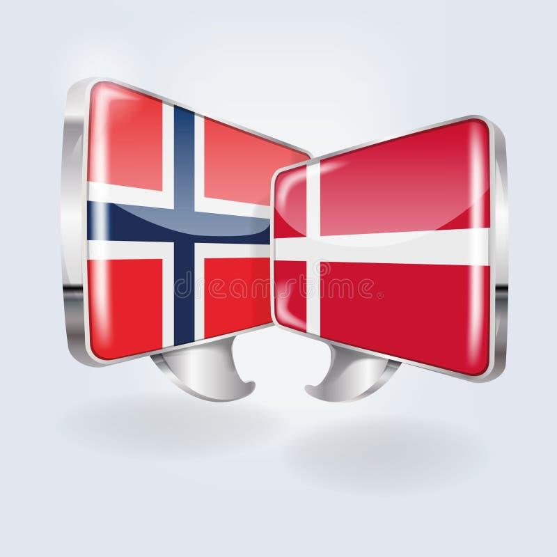 Пузыри и речь в норвежском и датском иллюстрация вектора