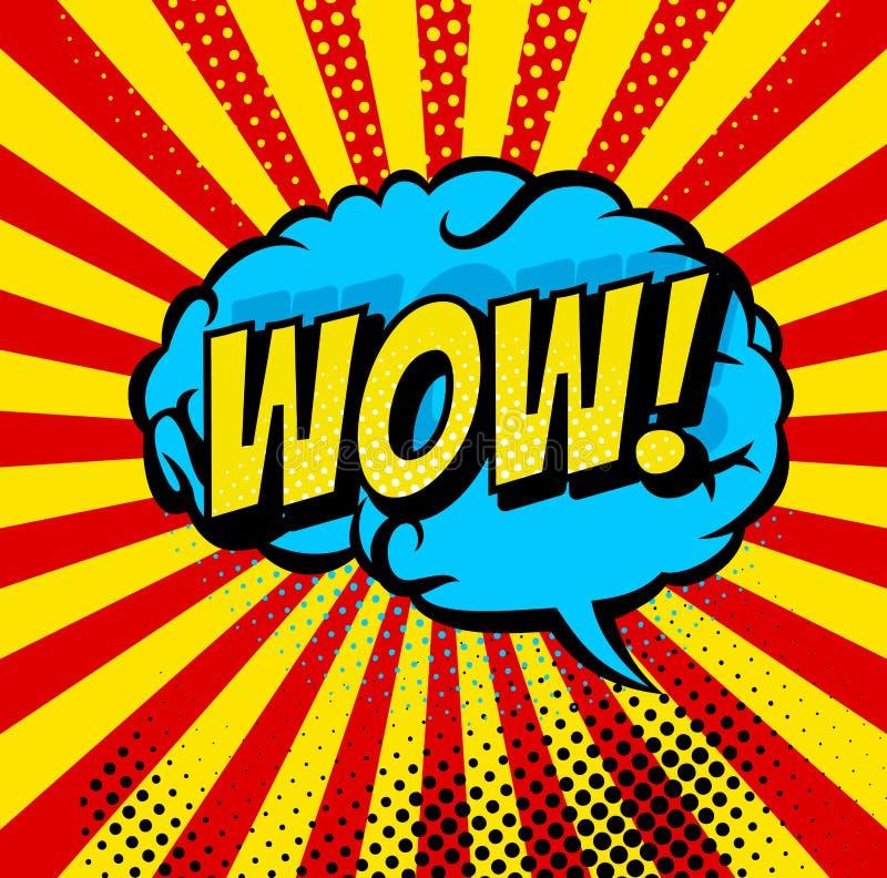 Пузыри комика и ядровые значки взрывов с лучами солнца Мозг пузырей искусства попа мультфильма вектора ВАУ ядрового облака заграж иллюстрация вектора