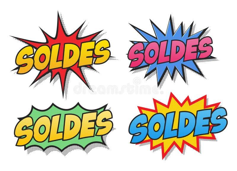 Пузыри комиксов продажи в французском иллюстрация штока