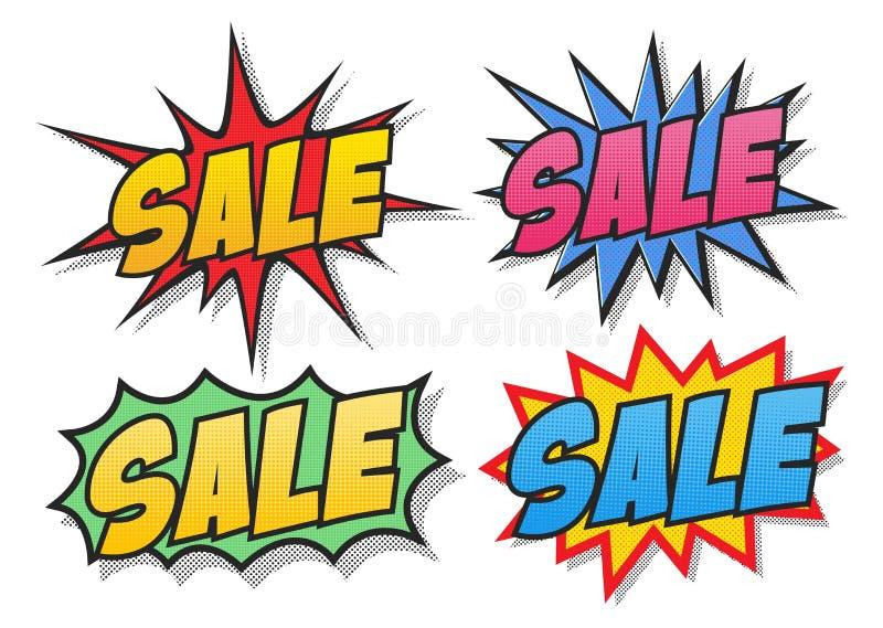 Пузыри комиксов продажи иллюстрация вектора