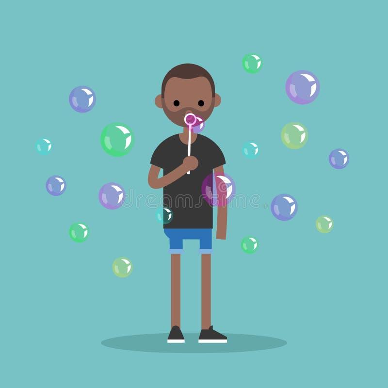Пузыри мыла молодого черного характера дуя/плоско editable vecto бесплатная иллюстрация