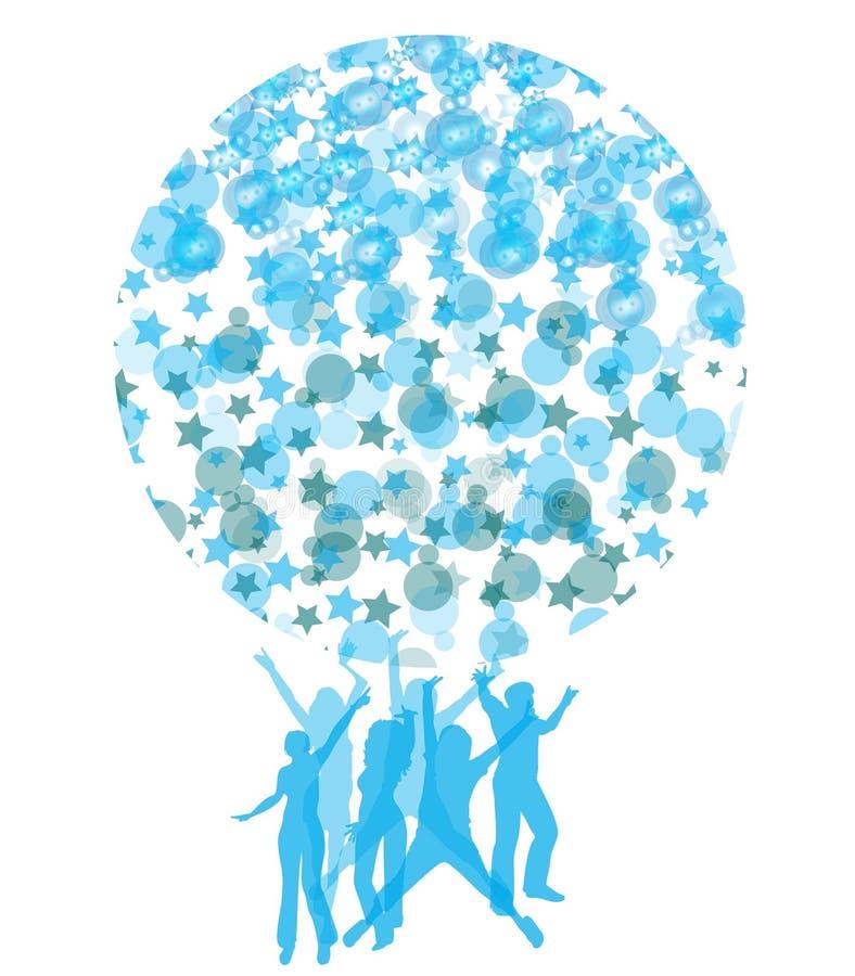 пузыри охлаждают танцульку формируя форму глобуса иллюстрация штока