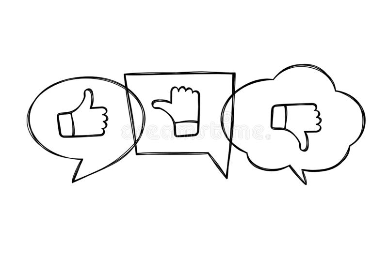 Пузыри речи руки вычерченные оконтуренные с большими пальцами руки вверх и вниз Как, нелюбовь и нерешительные значки в схематично иллюстрация вектора