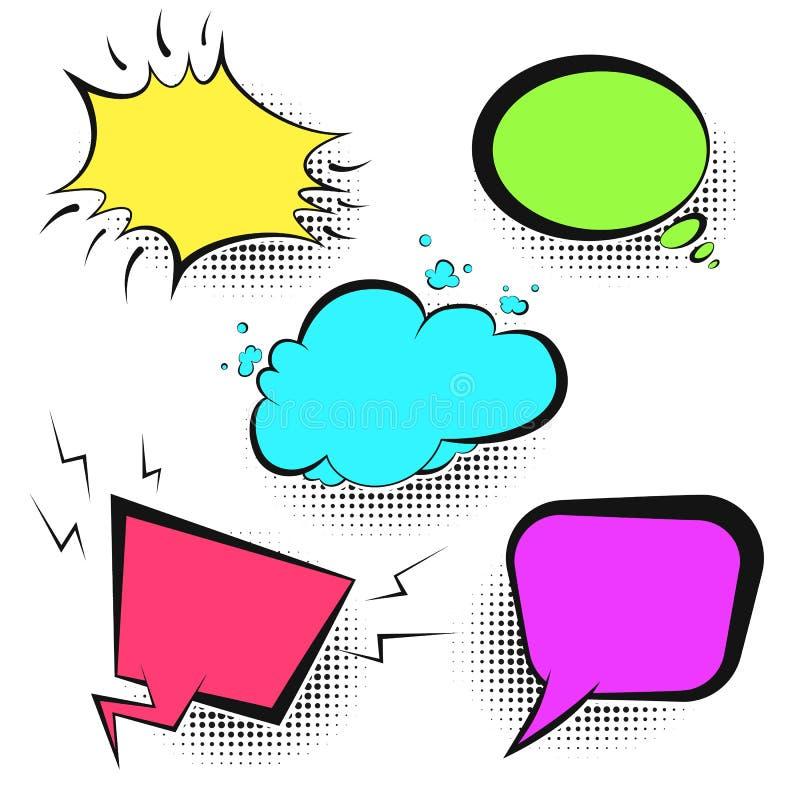 Пузыри речи ярких цветов ретро шуточные бесплатная иллюстрация