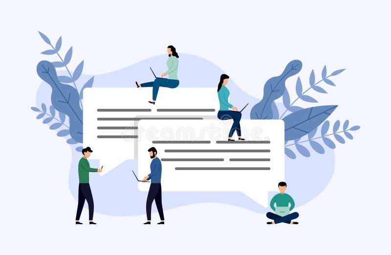 Пузыри сообщения беседуют, беседовать людей онлайн, концепция дела иллюстрация вектора
