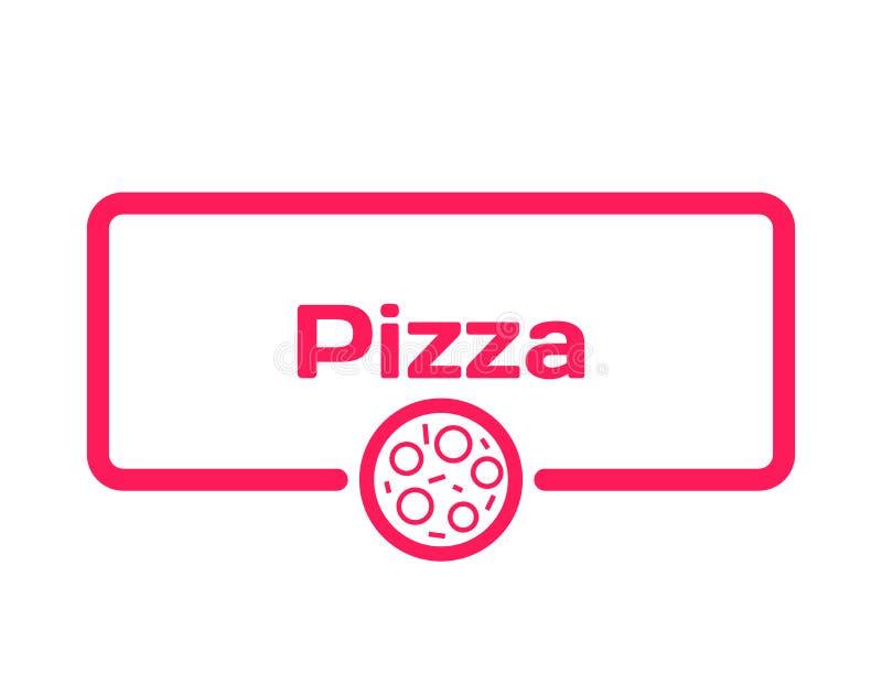 Пузырь диалога шаблона пиццы в плоском стиле на белой предпосылке Проштемпелюйте с значком пиццы для различного слова, к меню век бесплатная иллюстрация