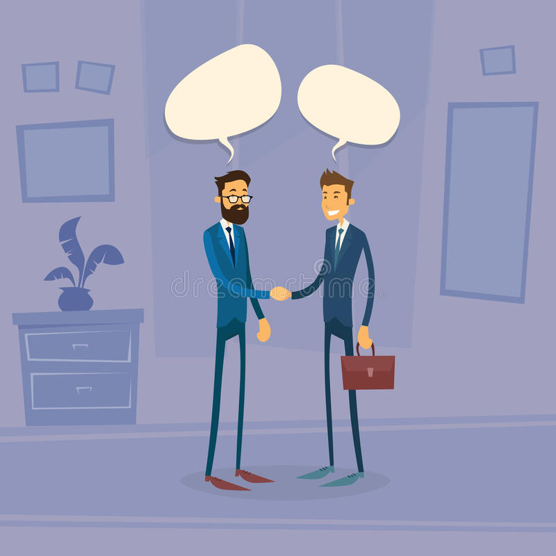 Пузырь коробки болтовни встряхивания руки 2 бизнесменов говоря иллюстрация вектора