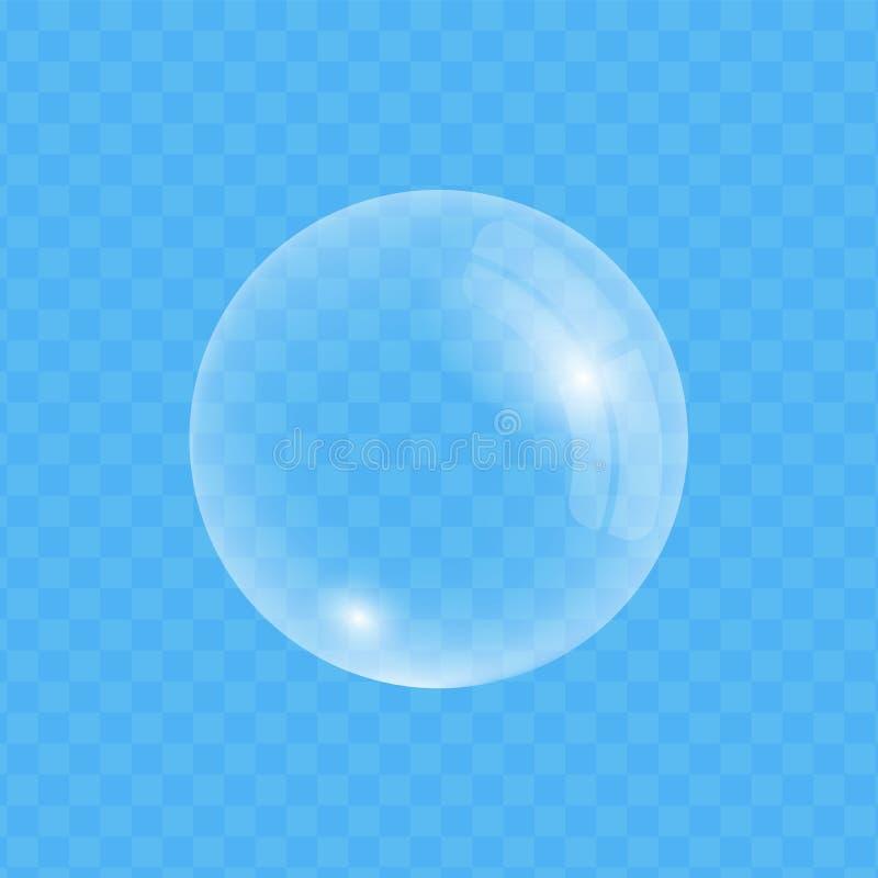 Пузырь мыла на прозрачной предпосылке иллюстрация вектора