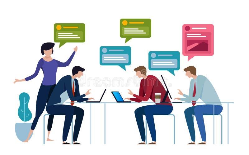 Пузырь речи группы болтовни бизнесмены работая в офисе говорят друг к другу также вектор иллюстрации притяжки corel иллюстрация вектора