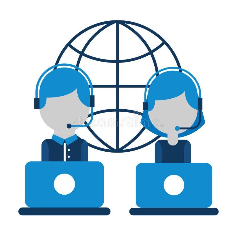 Пузырь речи девушки и мальчика центра телефонного обслуживания иллюстрация вектора