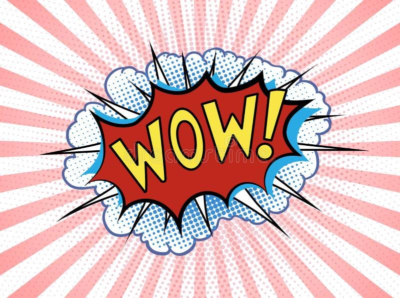 Пузырь речи искусства попа шуточный с текста нашивками и облаками вау Иллюстрация мультфильма вектора яркая динамическая в ретро  иллюстрация вектора