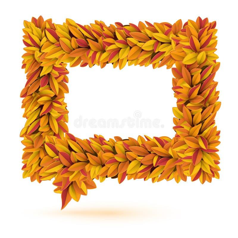 Пузырь речи листьев апельсина падения autunm иллюстрация штока