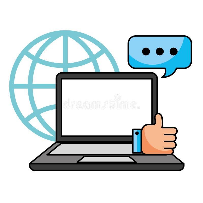 Пузырь речи ноутбука как центр телефонного обслуживания мира иллюстрация штока