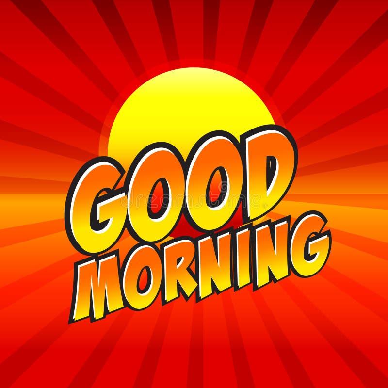 Пузырь речи доброго утра шуточный, шарж иллюстрация вектора