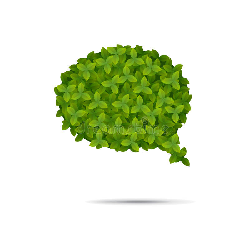 Пузырь речи предусматриванный в листьях иллюстрация вектора