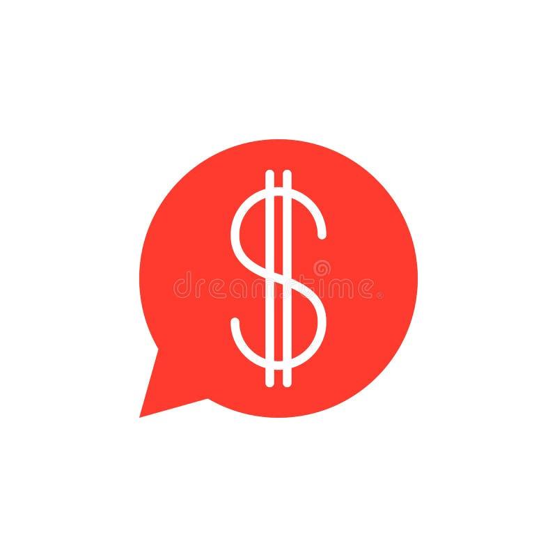 Пузырь речи с вектором значка знака доллара, заполненный плоский символ, бесплатная иллюстрация