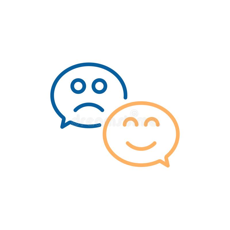 Пузырь речи с счастливой улыбкой и унылой стороной Линия дизайн вектора тонкая иллюстрации значка для удовлетворения клиента иллюстрация вектора